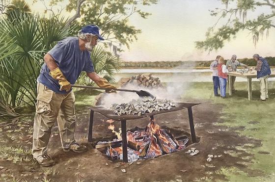 "John ""Crawfish"" Crawford roasting oysters"